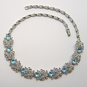 Ora Aqua Blue & Clear Rhinestone Choker Necklace