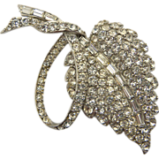 Pell Rhodium Plated Clear Rhinestone Leaf Pin Brooch