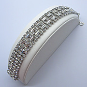 Clear Rhinestone Silver Tone Bracelet
