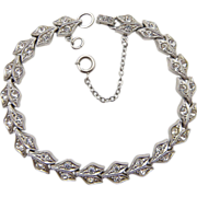 Silver Tone Clear Rhinestone Bracelet