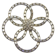 Bogoff Clear Rhinestone Flower Pin Brooch