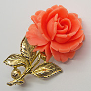 Accessocraft Coral Colored Celluloid Rose Pin Brooch