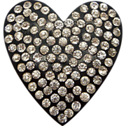 Black Plastic Clear Rhinestone Heart Dress Clip