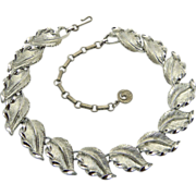 Lisner Silver Tone Leaves Choker Necklace