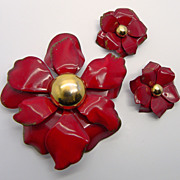Red Enamel Flower Pin & Clip Earrings Set