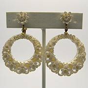 Off White Celluloid Floral Clip Earrings