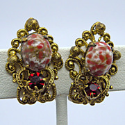 Red Rhinestone & Glass Cabs Brass Clip Earrings
