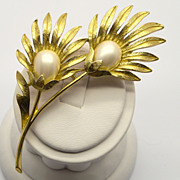Trifari Faux Pearl Flower Pin Brooch