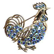 Coro Light Blue A.B. Rhinestone Rooster Pin Brooch