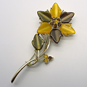 Coro Fall Colors Thermoset Flower Pin Brooch