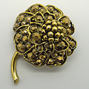 Hollycraft Gold Colored Flower Pin Brooch