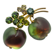 Austria Molded Glass Apples Fruit Rhinestone Pin Brooch