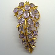 Light Purple Lavender Rhinestone Pin Brooch