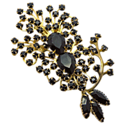 Large Jet Black Rhinestone Spray Pin Brooch