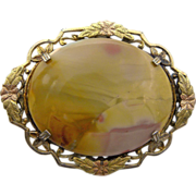 Yellow Jasper Stone Pin Brooch
