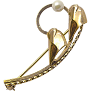 Curtis Jewelry Gold Filled Lily Pin Brooch