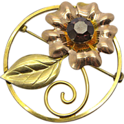 Bal-Ron Gold Filled Rhinestone Flower Pin Brooch