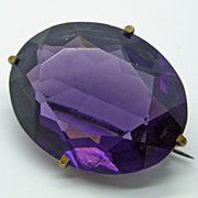 Victorian Purple Amethyst Glass Rhinestone Pin Brooch