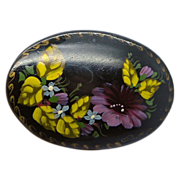 Russian Hand Painted Lacquered Floral Pin Brooch