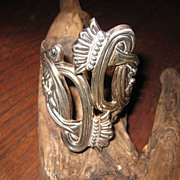 Sterling Moon Flower Clamper Bracelet, Taxco, Mexico