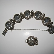 SALE Victoria Shadow Box Sterling Link Bracelet