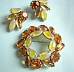 Vintage Set citrine & topaz colored rhinestones w/ root- beer and yellow cabachons