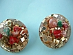 Vintage Confetti lucite earrings with multi colored shells under clear lucite