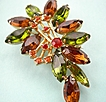 Vintage sparkling Rootbeer, Green, and orange rhinestone brooch