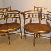Victorian Stick and Ball Gilded ballroom pair of Caned Arm Chairs, Circa 1920's