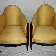 SOLD French Classic Pair of Art Deco Library Club Living Room Chairs Circa 1925's