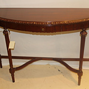 Federal Style Mahogany Console/Sofa Long Demi-Lune Table with One Drawer c.1920's