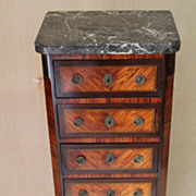 French Transitional Semanier Marble & Marquetry Lingerie Chest, circa 1880