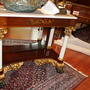 American Empire Classical Marble Top Pier/Console Table with Parcel Gilt, c19th