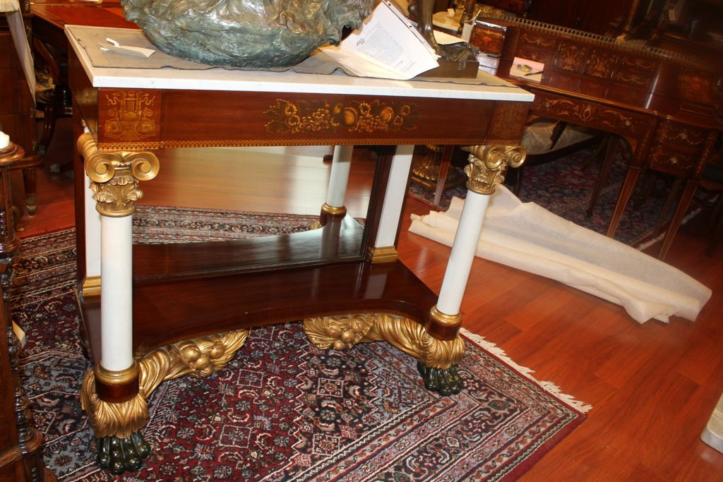 American Empire Classical Marble Top Pier/Console Table with ...