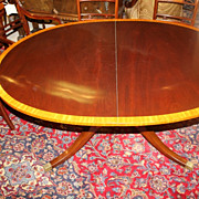 Regency-Style Mahogany  satin Banded oval Center Pedestal Dining Table, c 1920
