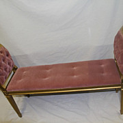 Italian Gilded Italian Narrow Window Bench with Tufted seat And Arms circa 1930