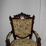 Victorian Renaissance Revival Jhon Jelliff Arm Chair with Jenny Lind's Head 19th
