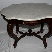 Victorian Turtle Top Parlor Mahogany Table with Original White Marble, c. 1860s