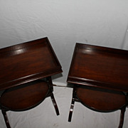 English Regency Style Mahogany End Tables with Lyre Supports. Circa 1920's