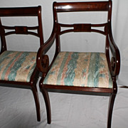 English Regency Style Mahogany Dining Chairs, Five Sides and One Arm, Circa1920s