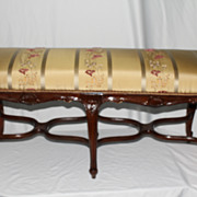 French Antique Authentic Louis XV Bench W/100% silk Shantung W/ Embroidery  Circa19th