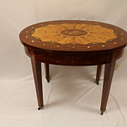 Edwardian Mahogany and Satinwood Oval Sunburst Inlaid Center Table Circa 19th