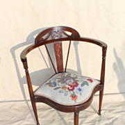 Edwardian Mahogany Inlaid Corner Chair, Circa 1900.
