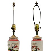 Pair of decorative 1930s' hand painted lamps