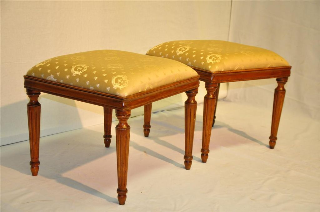 French Louis XVI Style Maple Pair of Square Benches, Finished. Circa 1920's