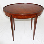 English Edwardian Banded Inlaid Satinwood Oval Table, Circa 19th