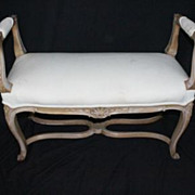 French Provincial Maple with Wash White Finish Bench, Circa 1920s