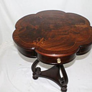 English Mahogany Pair of Elaborate Inlaid Side Table with Scalloped Top,c.1930s'