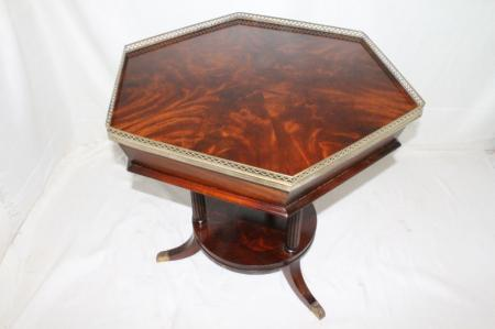 English Classic Regency  Hexagonal Tables with Pierced Brass Gallery, Circa1920