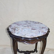 French Louis XV Walnut High Table with Colorful Marble Top, Circa 1920s'